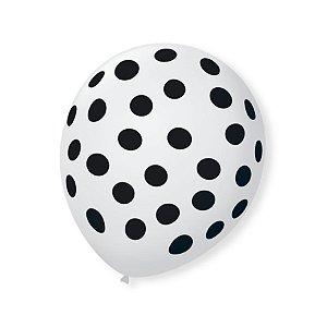 Balão de Festa Bolinhas Branco Poá Preto 9'' 23cm - 25 unidades - São Roque - Rizzo Festas
