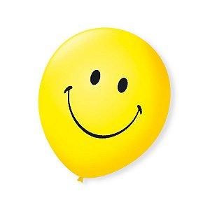 Balão de Festa Emoji Smile 9'' 23cm - 25 unidades - São Roque - Rizzo Festas