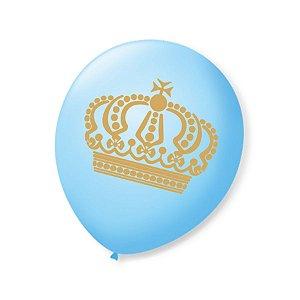 Balão de Festa Príncipe Azul Baby Coroa Dourada 9'' 23cm - 25 unidades - São Roque - Rizzo Festas