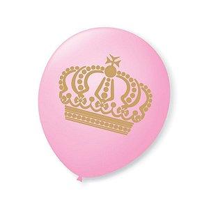 Balão de Festa Princesa Rosa Baby Coroa Dourada 9'' 23cm - 25 unidades - São Roque - Rizzo Festas