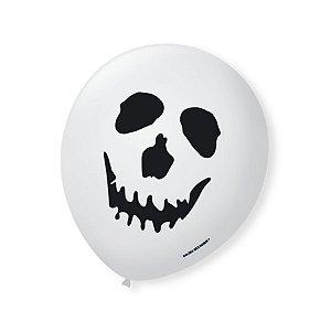Balão de Festa Halloween Branco Caveira Preta 9'' 23cm - 25 unidades - São Roque - Rizzo Festas