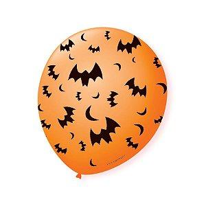 Balão de Festa Halloween Laranja Morcego Preto 9'' 23cm - 25 unidades - São Roque - Rizzo Festas