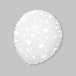 Balão de Festa Transparente Estrelas 9'' 23cm - 25 unidades - São Roque - Rizzo Festas