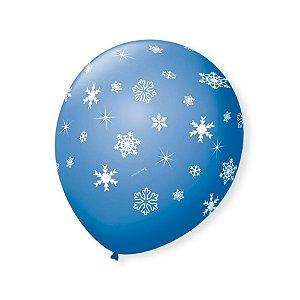 Balão de Festa Azul Turquesa Flocos de Neve Branco 9'' 23cm - 25 unidades - São Roque - Rizzo Festas
