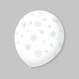 Balão de Festa Transparente Flocos de Neve Branco 9'' 23cm - 25 unidades - São Roque - Rizzo Festas