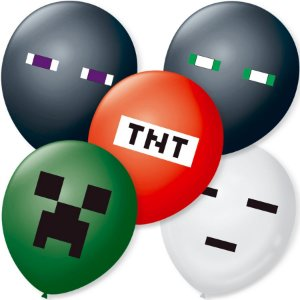 Balão de Festa Minecraft Sortido 9'' 23cm - 25 unidades - São Roque - Rizzo Festas
