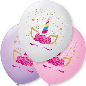 Balão de Festa Unicórnio Charm Sortido 9'' 23cm - 25 unidades - São Roque - Rizzo Festas