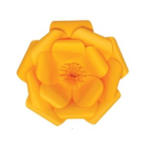 Flor de Papel Decoração Festa - Camélia 27cm PP Amarela - Decora Doces - Rizzo Festas