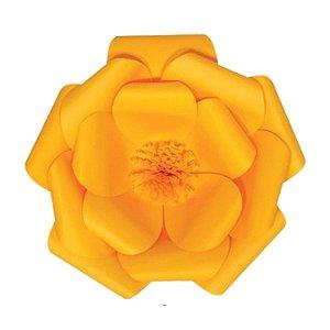 Flor de Papel Decoração Festa - Camélia 32cm P Amarela - Decora Doces - Rizzo Festas