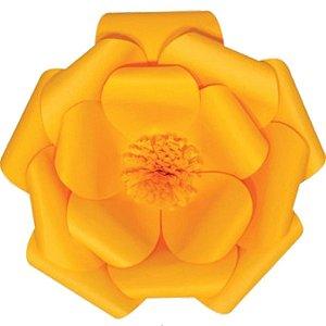 Flor de Papel Decoração Festa - Camélia 39cm M Amarela - Decora Doces - Rizzo Festas