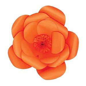 Flor de Papel Decoração Festa - Camélia 32cm P Laranja - Decora Doces - Rizzo Festas