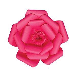 Flor de Papel Decoração Festa - Camélia 27cm PP Rosa Pink - Decora Doces - Rizzo Festas