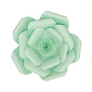 Flor de Papel Decoração Festa - Camélia 32cm P Verde Água - Decora Doces - Rizzo Festas
