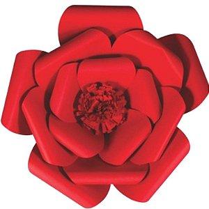 Flor de Papel Decoração Festa - Camélia 39cm M Vermelha - Decora Doces - Rizzo Festas