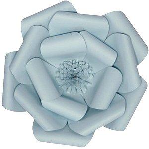 Flor de Papel Decoração Festa - Camélia 39cm M Azul Claro - Decora Doces - Rizzo Festas