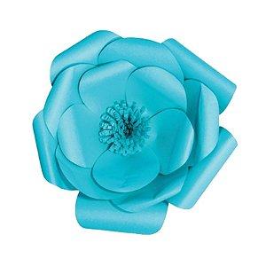 Flor de Papel Decoração Festa - Camélia 27cm PP Azul Turquesa - Decora Doces - Rizzo Festas