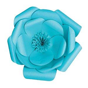 Flor de Papel Decoração Festa - Camélia 32cm P Azul Turquesa - Decora Doces - Rizzo Festas