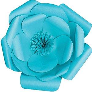 Flor de Papel Decoração Festa - Camélia 39cm M Azul Turquesa - Decora Doces - Rizzo Festas