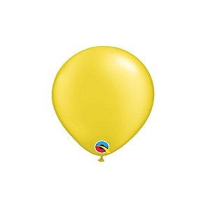 Balão Qualatex Perolado Radiante Opaco Amarelo Citrino 5'' 5 unidades Profissional - Rizzo Festas