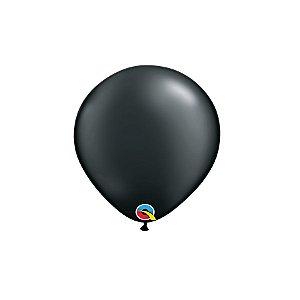 Balão Qualatex Perolado Radiante Opaco Preto Ônix 5'' 5 unidades Profissional - Rizzo Festas