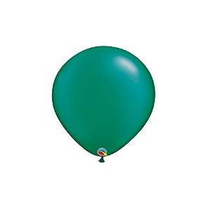 Balão Qualatex Perolado Radiante Opaco Verde Esmeralda 5'' 5 unidades Profissional - Rizzo Festas