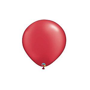 Balão Qualatex Perolado Radiante Opaco Vermelho Rubi 5'' 5 unidades Profissional - Rizzo Festas