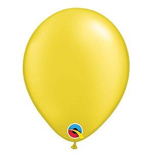 Balão Qualatex Perolado Radiante Opaco Amarelo Citrino 11'' 5 unidades Profissional - Rizzo Festas