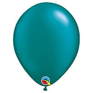 Balão Qualatex Perolado Radiante Opaco Azul Petróleo 11'' 5 unidades Profissional - Rizzo Festas