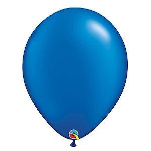 Balão Qualatex Perolado Radiante Opaco Azul Safira 11'' 5 unidades Profissional - Rizzo Festas