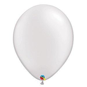 Balão Qualatex Perolado Radiante Opaco Branco 11'' 5 unidades Profissional - Rizzo Festas