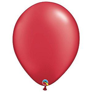 Balão Qualatex Perolado Radiante Opaco Vermelho Rubi 16'' 5 unidades Profissional - Rizzo Festas
