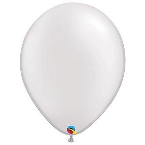 Balão Qualatex Perolado Radiante Opaco Branco 16'' 5 unidades Profissional - Rizzo Festas