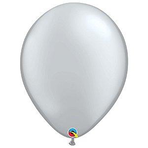 Balão Qualatex Perolado Radiante Opaco Prata 16'' 5 unidades Profissional - Rizzo Festas