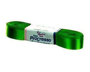 Fita de Cetim Progresso 15mm nº3 - 10m Cor 677 Verde Folha - 01 unidade - Rizzo Embalagens
