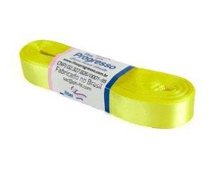 Fita de Cetim Progresso 15mm nº3 - 10m Cor 242 Amarelo Canário - 01 unidade - Rizzo Embalagens