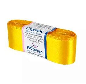 Fita de Cetim Progresso 38mm nº9 - 10m Cor 038 Amarelo Ouro - 01 unidade - Rizzo Embalagens
