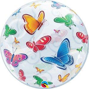 Balão Bubble Transparente Borboletas - 22'' 56cm - Qualatex - Rizzo festas
