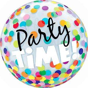 Balão Bubble Transparente Party Time - 22'' 56cm - Qualatex - Rizzo festas