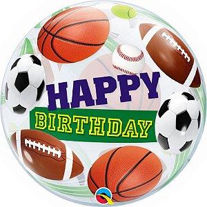 Balão Bubble Transparente Esportes - 22'' 56cm - Qualatex - Rizzo festas