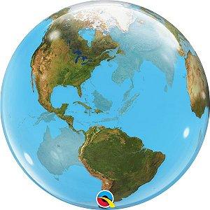 Balão Bubble Transparente Globo Terrestre - 22'' 56cm - Qualatex - Rizzo festas