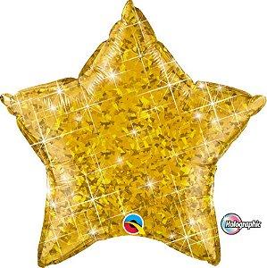 Balão Metalizado Holográfico Estrela Ouro - 20'' - Qualatex - Rizzo festas