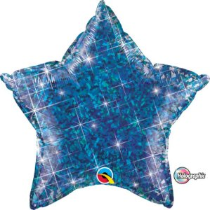 Balão Metalizado Holográfico Estrela Azul - 20'' - Qualatex - Rizzo festas