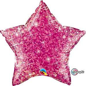 Balão Metalizado Holográfico Estrela Rosa Pink - 20'' - Qualatex - Rizzo festas