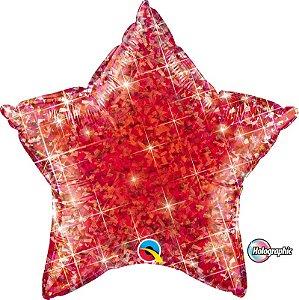 Balão Metalizado Holográfico Estrela Vermelha - 20'' - Qualatex - Rizzo festas