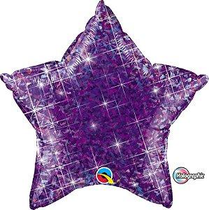 Balão Metalizado Holográfico Estrela Roxa - 20'' - Qualatex - Rizzo festas