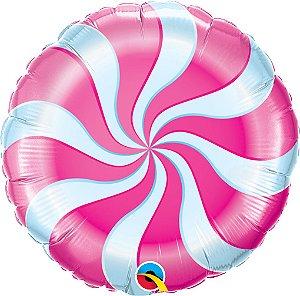 Balão Metalizado Bala Espiral Rosa Pink - 18'' - Qualatex - Rizzo festas