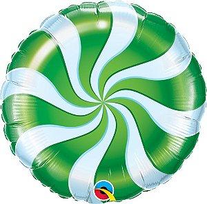 Balão Metalizado Bala Espiral Verde - 18'' - Qualatex - Rizzo festas