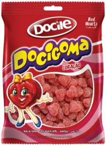 Bala de Goma Coracao Vermelho Docigoma 240g - Docile - Rizzo Embalagens