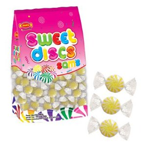 Bala Sweet Discs Sams 150 un 480g - Amarelo - Simas - Rizzo Embalagens