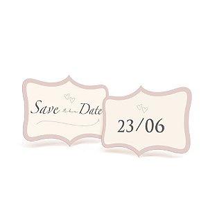 Placa Save the Date - 01 unidade (par) - Cromus Casamento Romantico - Rizzo Festas